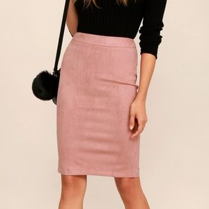Lulus pink suede pencil skirt